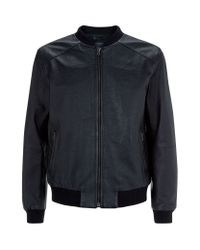 Lot78 Black Deer Skin Bomber Jacket for men