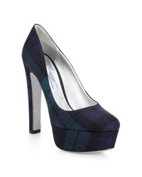 Prada | Blue Tartan Plaid Platform Pumps | Lyst