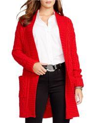 Lauren by Ralph Lauren Red Plus Cable-knit Open-front Cardigan