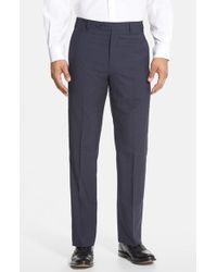 Zanella - Blue 'todd' Flat Front Check Wool Trousers for Men - Lyst