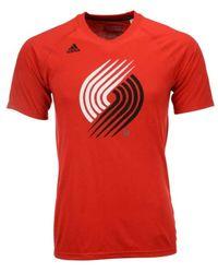 Adidas Originals Red Men's Portland Trail Blazers Quick Draw Climalite T-shirt for men
