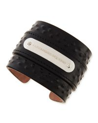 Alexander McQueen Black Mens Covered-stud Leather Cuff for men