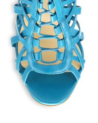Christian Louboutin - Blue Laurence Leather Cage Laceup Sandals - Lyst