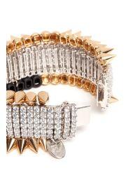 Venna - Metallic Crystal Spike Bracelet - Lyst