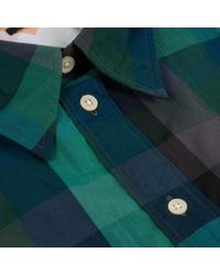 Paul Smith - Green Large Check Slub-Chambray Shirt for Men - Lyst