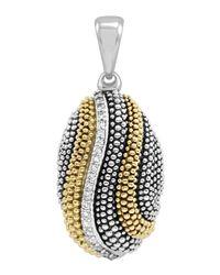 Lagos | Metallic Soiree Caviar Diamond Wave Pendant | Lyst
