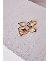 Missguided - Multicolor Multi Stone Stacking Ring Set - Lyst