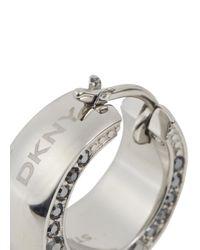DKNY Metallic Silver Tone Crystal Hoop Earrings
