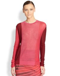 Akris - Pink Silk Jacquard Knit Pullover - Lyst