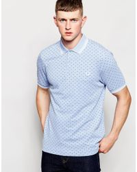 Fred Perry | Blue Polo Shirt With Twin Tip And Polka Dot In Smoke In Slim Fit for Men | Lyst