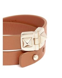Valentino - Black 'rockstud' Double Wrap Hinge Leather Bracelet - Lyst