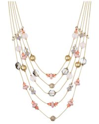 INC International Concepts | Gold-tone Pink Bead Five-row Illusion Necklace | Lyst