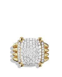 David Yurman Yellow Wheaton Ring With Diamonds In Gold
