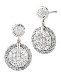 Charriol Metallic White Sapphire Pave Drop Earrings