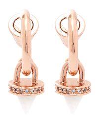 Eddie Borgo | Pink Rose Gold-plated Gemstone Cone Charm Hoop Earrings | Lyst