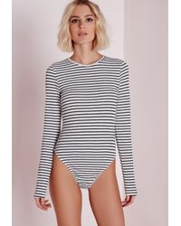 595cabe77e Lyst - Missguided Long Sleeve Stripe Ribbed Bodysuit in Gray