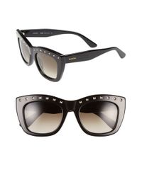 Valentino | 'rockstud' 51mm Retro Sunglasses - Shiny Black | Lyst