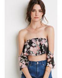 Forever 21 | Multicolor Floral Off-the-shoulder Crop Top | Lyst
