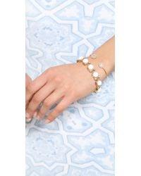 Tai Metallic Dual Pave Stone Open Bracelet Peachgold