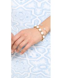 Tai - Metallic Dual Pave Stone Open Bracelet Peachgold - Lyst
