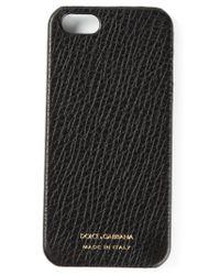 Dolce & Gabbana Black Pebbled Phone Case for men