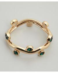 Kenneth Jay Lane | Green Gold And Emerald Crystal Encrusted Cuff | Lyst