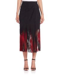 Tamara Mellon | Red Signature Suede Fringe Skirt | Lyst