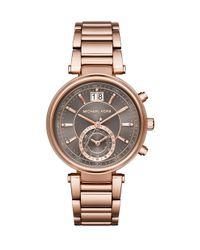 Michael Kors | Gray Sawyer Rose Goldtone Stainless Steel Subdial Bracelet Watch | Lyst