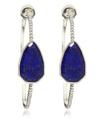 Stephen Dweck - Metallic Silver Lapis Lazuli Cathedral Hoop Earrings - Lyst