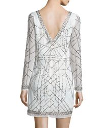 Laundry by Shelli Segal White Long-sleeve Beaded Cocktail Dress