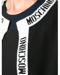 Moschino - Black Logo Intarsia Cropped Cardigan - Lyst