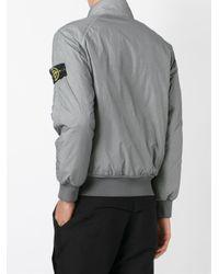Stone Island Gray Padded Bomber Jacket for men