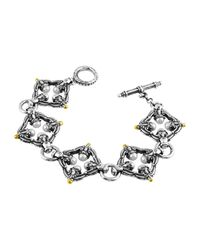 Konstantino | Metallic Silver & 18k Pearl-link Bracelet | Lyst