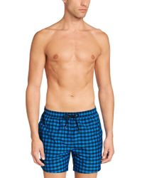 BOSS Blue 'catshark' | Gingham Swim Trunks for men