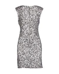 Alice + Olivia - Gray Short Dress - Lyst
