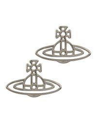 Vivienne Westwood   Metallic Thin Lines Silver Tone Orb Stud Earrings   Lyst