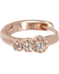Stone Metallic Diamond & Rose Gold Creole Mini Hoop Earring