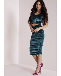 Missguided Blue Velvet Ruched Side Midi Skirt Teal