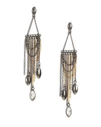 ABS By Allen Schwartz | Metallic Bitter Not Sweet Draped Chain Fringe Chandelier Earrings | Lyst