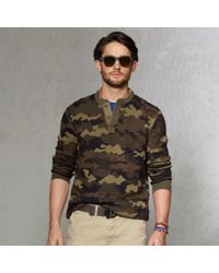 8bb69cc3 Polo Ralph Lauren Camouflage Henley Sweater in Natural for Men - Lyst