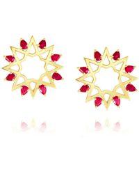 Ralph Masri | Red Ruby Star Earrings | Lyst