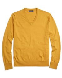 Brooks Brothers | Yellow Saxxon Wool V-neck Sweater for Men | Lyst