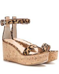 Gianvito Rossi Brown Calf Hair Wedge Sandals