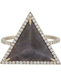 Monique Pean Atelier | Black Diamond & Sapphire Ring | Lyst