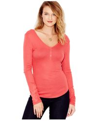 Guess | Pink Waffle-knit Appliqué Henley Top | Lyst