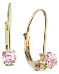 Macy's - Children'S 14K Gold Earrings, Pink Cubic Zirconia Accent - Lyst