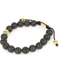 Nialaya | Black 14ct Gold And Lava Stone Beaded Bracelet for Men | Lyst