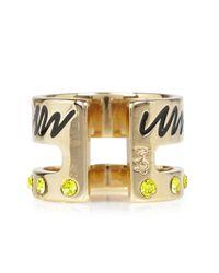 MFP MariaFrancescaPepe - Metallic 23Kt Gold Plated Swarovski Midi Ring - Lyst