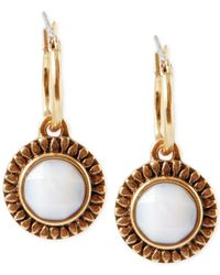 Lucky Brand | Metallic Gold-Tone White Stone Drop Earrings | Lyst