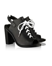 Rag & Bone Black Trafford Leather Lace-Up Sandals